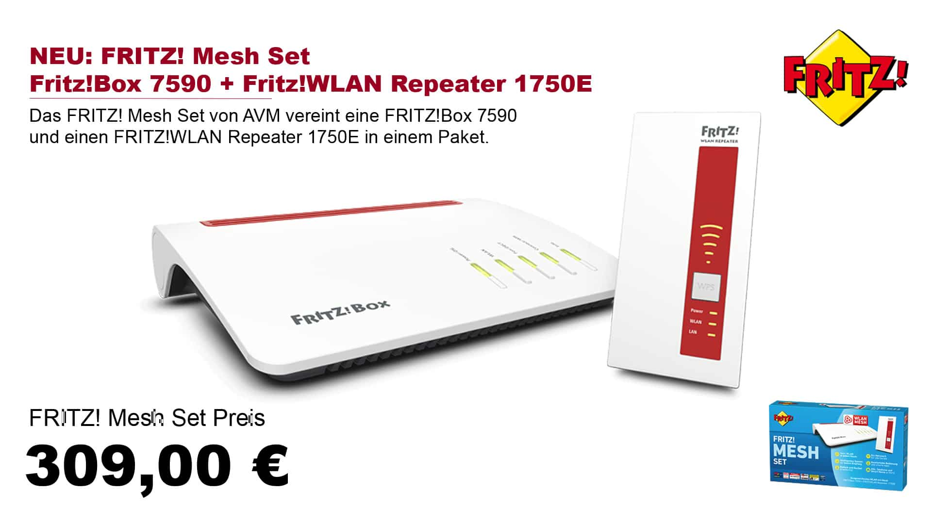 AVM Fritz!Mesh-Set Fritz!Box 7590 + Fritz!Repeater 1750E