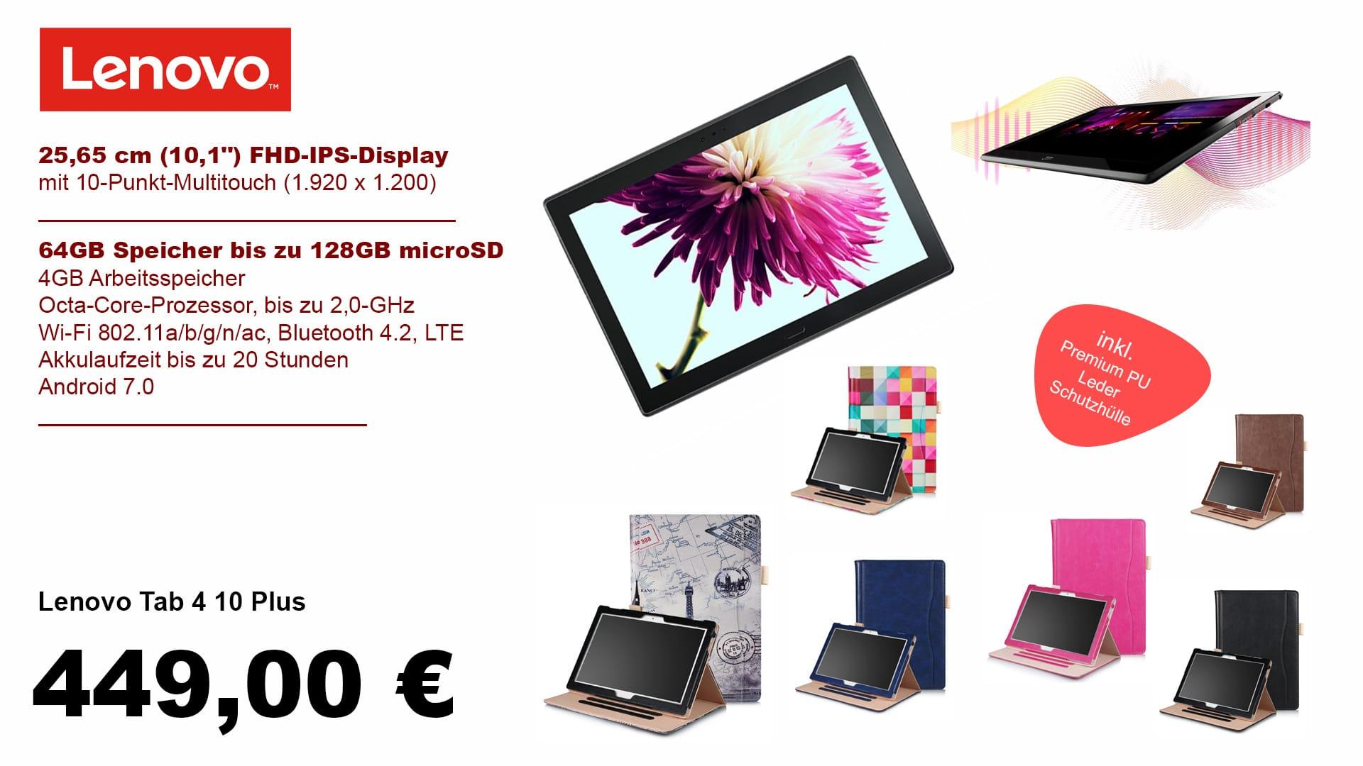 Lenovo Tab 4 10 Plus inklusive Huelle